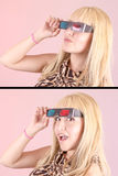 Young beautiful woman with 3d glasses, set Stock Photography
