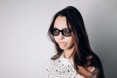 Young beautiful woman with 3d glasses, virtual reality, cinema. Young beautiful woman with 3d glasses, virtual reality, cinema, movies Royalty Free Stock Image