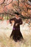 Young beautiful woman dancing ritual dance mandala Royalty Free Stock Photography