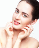 Young beautiful woman with day makeup and  green pistachio colou Royalty Free Stock Image
