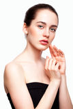 Young beautiful woman with day makeup and  green pistachio colou Stock Images