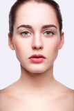 Young beautiful woman with day makeup and  green pistachio colou Royalty Free Stock Photos