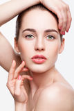 Young beautiful woman with day makeup and  green pistachio colou Royalty Free Stock Images