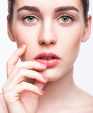 Young beautiful woman with day makeup and  green pistachio colou Stock Photos