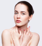 Young beautiful woman with day makeup and  green pistachio colou Royalty Free Stock Photography