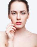 Young beautiful woman with day makeup and  green pistachio colou Stock Photography