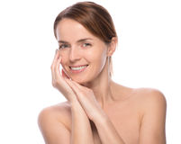 Young beautiful woman demonstrate her perfect skin Royalty Free Stock Images