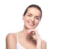 Young beautiful woman demonstrate her perfect skin Stock Photo