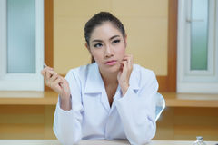 Young beautiful woman dentist holding dental tools Stock Images