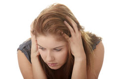 Young beautiful woman with depression Royalty Free Stock Images
