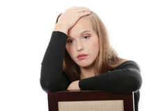 Young beautiful woman with depression Royalty Free Stock Image