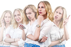 Young beautiful woman with different emotions Royalty Free Stock Photos