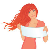 Young beautiful woman displaying a banner add. Beautiful woman displaying a banner add isolated over a white background. Vector illustration Stock Photos