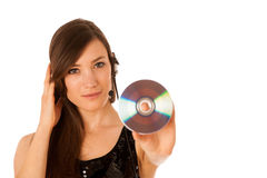Young beautiful woman DJ with cd in her hand Royalty Free Stock Images