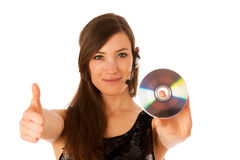 Young beautiful woman DJ with cd in her hand Royalty Free Stock Image