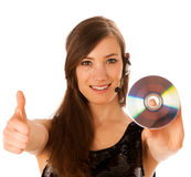 Young beautiful woman DJ with cd in her hand Royalty Free Stock Photography