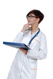 Young beautiful woman doctor with phonendoscope. Royalty Free Stock Photography