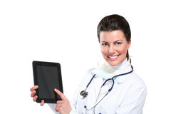 Young beautiful  woman doctor with tablet Royalty Free Stock Image