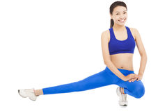 Young beautiful woman doing core workout Royalty Free Stock Photography