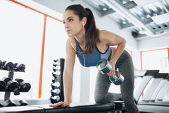 Young beautiful woman doing exercises with dumbbell in gym. Royalty Free Stock Photos