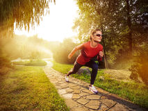 Young beautiful woman doing fitness in a park. stock photo