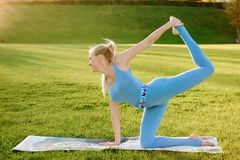 Young beautiful woman doing yoga exercises in the park. stock images