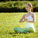 Young and beautiful woman doing yoga exercises .Yoga background Royalty Free Stock Images