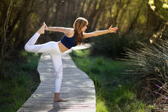 Young beautiful woman doing yoga in nature. Young woman doing yoga in nature. Female wearing sport clothes Stock Images