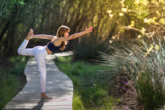 Young beautiful woman doing yoga in nature. Young woman doing yoga in nature. Female wearing sport clothes Stock Photos