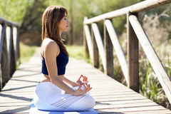 Young beautiful woman doing yoga in nature. Young woman doing yoga in nature. Female wearing sport clothes in lotus figure. Girl training in a wooden bridge Stock Photo