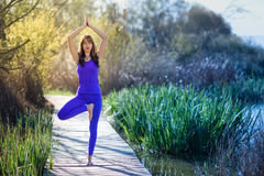 Young beautiful woman doing yoga in nature. Young woman doing yoga in nature. Female wearing sport clothes in tree figure on a wooden road Stock Photos