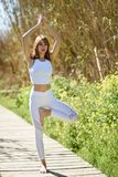 Young beautiful woman doing yoga in nature Royalty Free Stock Image
