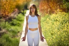 Young beautiful woman doing yoga in nature Royalty Free Stock Photos