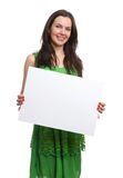 Young beautiful woman in dress hold blank card Royalty Free Stock Image