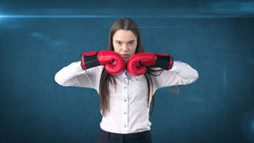 Young beautiful woman dress in white shirt standing in combat pose with red boxing gloves. Business concept. Royalty Free Stock Image