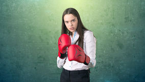 Young beautiful woman dress in white shirt standing in combat pose with red boxing gloves. Business concept. Royalty Free Stock Photo