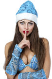 Young beautiful woman dressed as Russian Snow Maiden Stock Photo