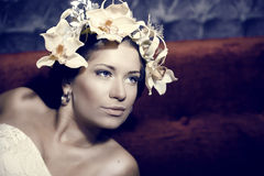Young beautiful woman dressed as Spring Royalty Free Stock Images