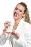 Young beautiful woman drink a coffee Stock Photos
