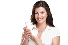 Young beautiful woman drink a glass ok milk Stock Images