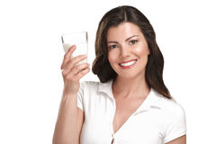 Young beautiful woman drink a glass ok milk Royalty Free Stock Photo