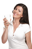 Young beautiful woman drink a glass ok milk Stock Image
