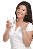 Young beautiful woman drink a glass ok milk Stock Photography