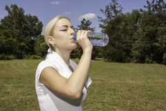 Young beautiful woman drinking water. Portrait of young beautiful woman drinking water royalty free stock photo
