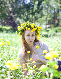Young beautiful woman  in the early spring Royalty Free Stock Image
