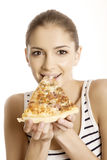 Young beautiful woman eat pizza Stock Image