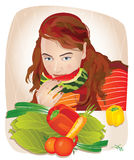 Young beautiful woman eating fruits and vegetables. Vector illustration of a young beautiful woman or girl sitting at the table and eating fruits and vegetables stock illustration