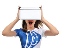 Young beautiful woman with empty box smiling laughing Royalty Free Stock Photos