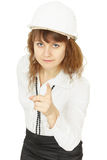 Young beautiful woman engineer in helmet on white Royalty Free Stock Image