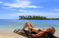 Young beautiful woman enjoying her time and restin Stock Image